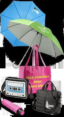 Bagaerie et parapluie publicitaires